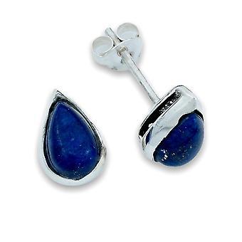 Ohrstecker Ohrringe Silber 925 Sterlingsilber Lapis Lazuli blau Stein  (Nr: MOS 076-06)