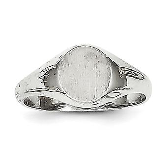14k White Gold Solid Engravable Polished and satin for boys or girls Signet Ring Size 5 - 2.3 Grams