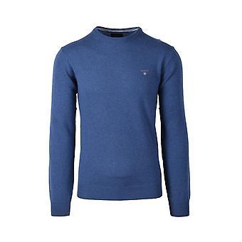 Gant Superfine Lambswool Crew Neck Knitwear Stone Blue Melange