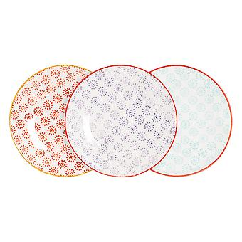 Nicola Spring 6 Piece Hand-Printed Side Plate Set - Japanese Style Porcelain Dessert Bread Plates - 3 Colours - 18cm