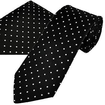 Corbatas Planet Gold Label Negro & Blanco Polka Dot Hombres's Seda Tie & Pocket Square Set