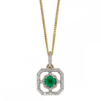 Joshua James Precious 9ct Yellow Gold With Emerald & Diamond Art Deco Pendant
