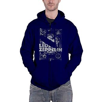 Led Zeppelin Hoodie LZ1 Vintage Print Band Logo Official Mens Navy Blue Zipped