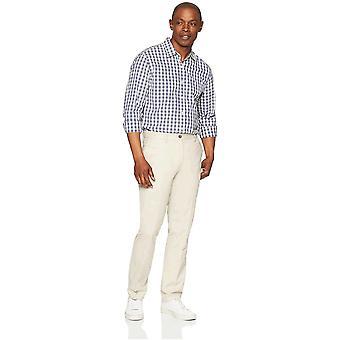 Pantalone Chino piatto resistente alle rughe da uomo essentials, pietra, 42W x 32L