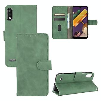 For LG K22 Solid Color Skin Feel Magnetic Buckle Horizontal Flip Calf Texture PU Leather Case with Holder & Card Slots & Wallet(Green)