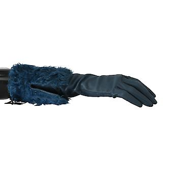 Blue Mid Arm Leather Shearling Fur Gloves