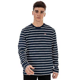Mænd's Levis Classic Housemark Stribet T-shirt i hvid