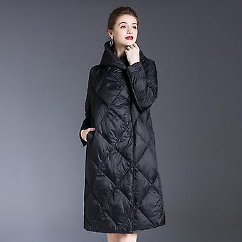 Women's Winter Down Jacket, Coats Ultra Long, Warm Puffer Hooded Parka, Female