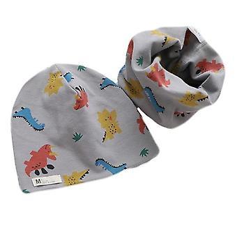 Plush Hat Scarf Set, Print, Collar Cotton