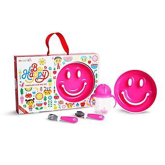 Munchkin av glada småbarn mat som rosa
