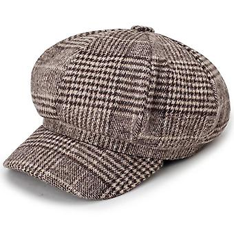 Newsboy Plaid Octagonal Hats, Classic Vintage Beret Autumn Winter Hats /men