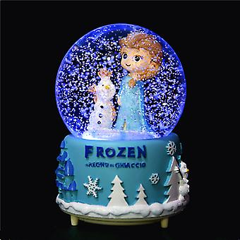 Drehen Musik-Box Kristall Kugel Schneekugel Schneeflocken Musik Box Home Dekoration LED Licht Kristall Ball Musik Box