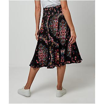Joe Browns kvinnors mörka blommiga boho kjol