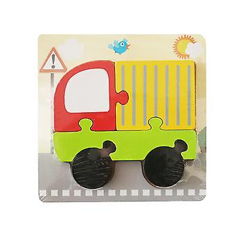 Barnas tre 3D geometrisk puslespill, baby tidlig utdanning puslespill byggeblokk pedagogisk leketøy