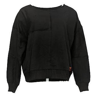 Peace Love World Women's Pieced French Terry Sweatshirt Black A38359