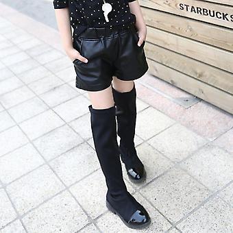 Faux Leather Shorts, Winter Fleece Warm Thick Short Pants Kids
