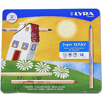 LYRA Super Ferby Colour Pencils, Assorted Unpainted 18 Farbstifte Ferby Natur Multicolored