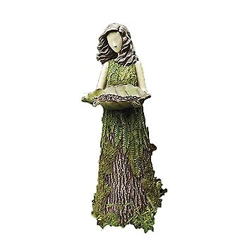 Sherwood Fern Fairy Statuary With Bird Feeder Resin Ornament Outdoor Garden Statue Super Cute