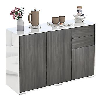 HOMCOM High Gloss Sideboard, Side Cabinet, Push-Open Design with 2 Drawer for Living Room, Bedroom, Light Grey and White