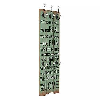 """vidaXL خزانة الحائط مع 6 السنانير 120 × 40 سم """"الحب السعيد"""""""