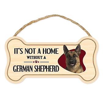 "Sign, Wood, Dog Bone, It's Not A Home Without A German Shepherd, 10"" X"