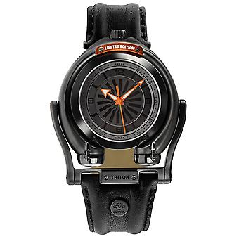 GV2 Triton Men's Gun Dial Calfskin Leather Watch