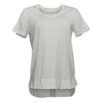 Anybody Women's Top Short Sleeve V-Neck White A393061