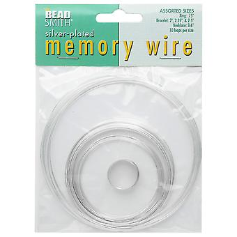 The Beadsmith Assorted Memory Wire Variety Pack - Silver Plated - 10 Loops Per Size