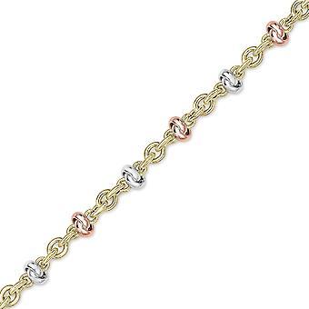"Jewelco London 9ct Tri-Colour Gold Knot Motif Anklet Bracelet 7.5"" 7 inch"