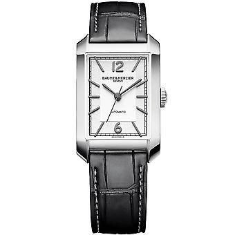 Baume & Mercier M0a10522 Hampton Automatic Rectangular Silver & Black Leather Mens Watch