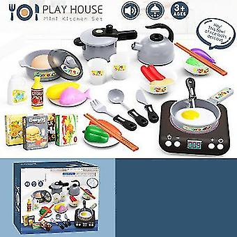 Blue kids pretend play kitchen daycare cooking toy with stainless steel cookware pots and pans setcooking utensils x2076