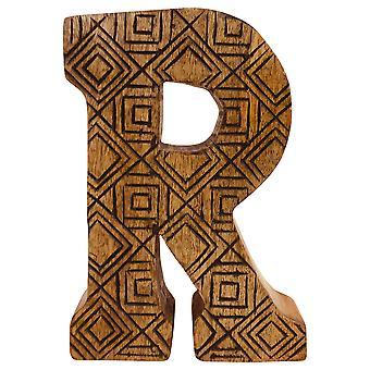 אות R יד מגולפת גיאומטרית עץ