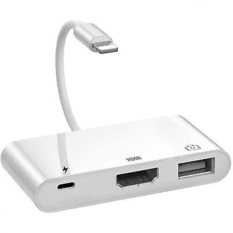 Lightning To Hdmi Adapter, 3 In 1 Lightning 1080p Digital Av Adapter With Usb Socket, Pd Connection