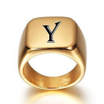 Alfabet roestvrij staal zegel blanco effen ring band hoog gepolijst goud toon