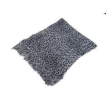 Black And Silver Metallic Leopard Print Lightweight Poncho