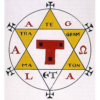 Hexagram van Salomo. Ingelijste foto. HEXAGRAM VAN SALOMO een krachtig occult teken dat omvat.