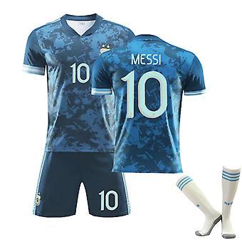 Messi #10 Jersey Argentina National Soccer Teams Fotboll T-Shirts Jersey Set för barnungdomar