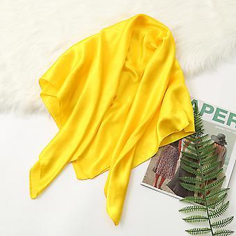 35 polegadas cetim cabeça lenço grande vintage quadrado pele de seda sensação de cetim amarelo