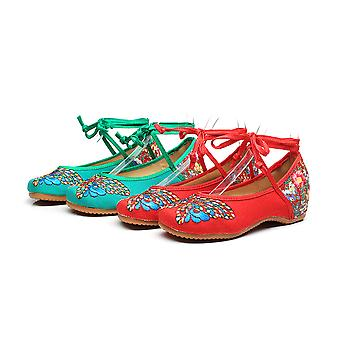 Women's Chinese Retro Ethnic Embroidery Low Heel Flat Elevator Cheongsam Dress Shoes Color Butterfly