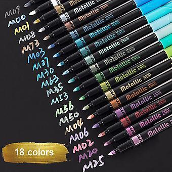 سوفيرن 18 لون الأقلام علامة معدنية، وتستخدم لوضع علامة دائمة ألبومات الصور، وصنع البطاقات، لوحات الصخور، والزجاج، Diy الكتابة على الجدران اللون