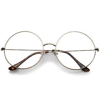 Montatura in metallo sottile Oversize classico chiaro lente piana rotonda occhiali 56mm