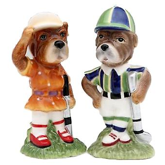 Sport Golf Golfer Dog Boy and Girl Couple Salt and Pepper Shaker