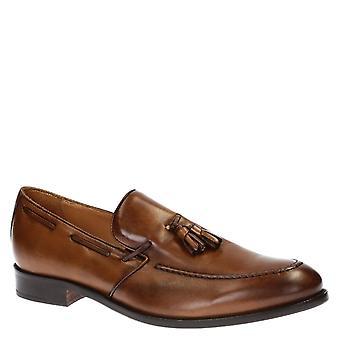Leonardo Shoes Men's Handmade tassel loafers shoes in brown calf leather