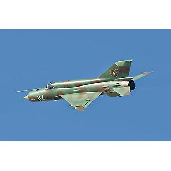 A Bulgarian Air Force MiG-21 in flight over Bulgaria Poster Print by Giovanni CollaStocktrek Images