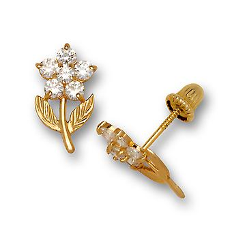 14k Yellow Gold April Clear CZ Flower Leaves Screw back Earrings Measures 11x6mm Jewelry Gifts for Women