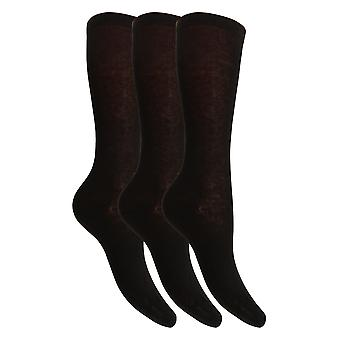 Childrens Girls Cotton Rich Knee High Socks With Elastane (Pack Of 3)