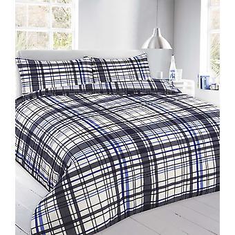 Flynn Tartan Check Duvet Quilt Cover Polycotton Printed Bedding Set