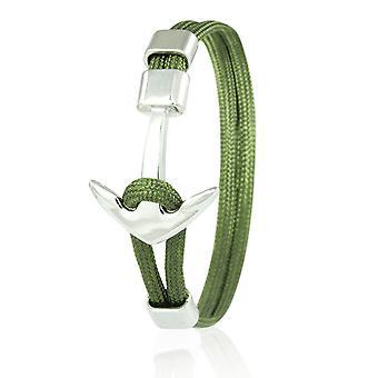 Patrón ancla brazalete 21 cm nylon brazo joyería oliva con ancla de plata 6955