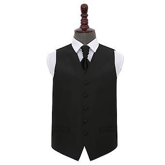 Colete de casamento de verificação sólida preta e amp; Conjunto de Cravat