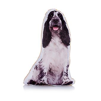 Adorable black & white cocker spaniel shaped midi cushion